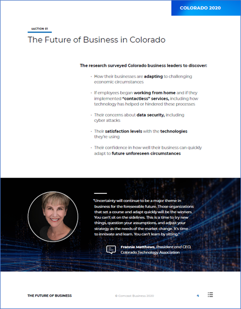 An exerpt from The Future of Business in Colorado with an influencer's quote.