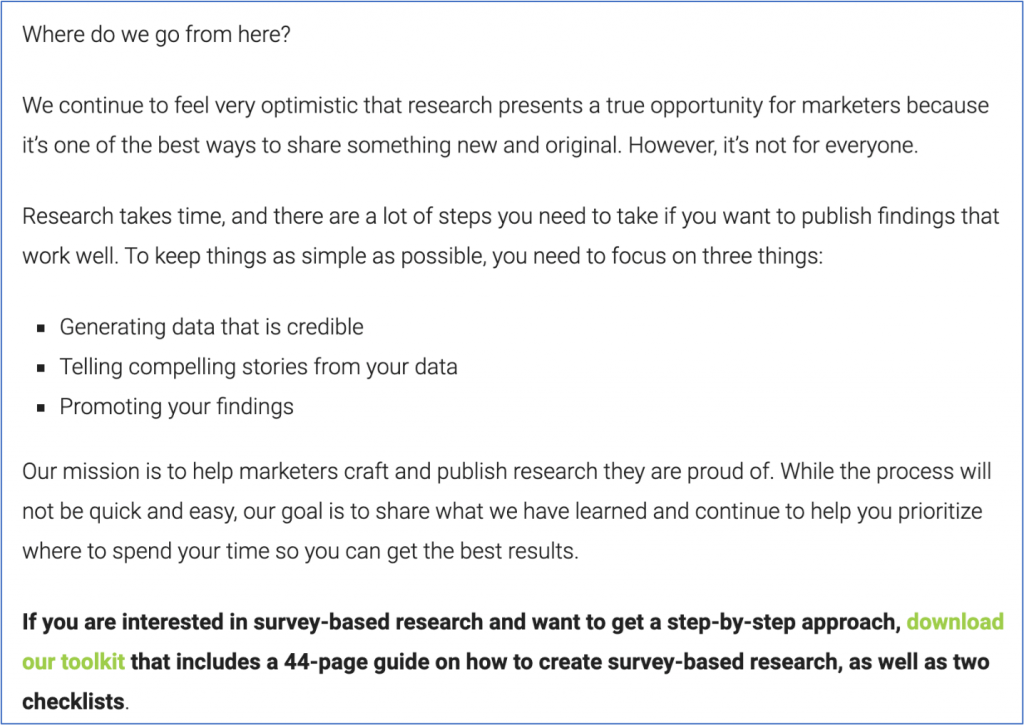 Add suggestions on how to use the data you're presenting, not just the facts.
